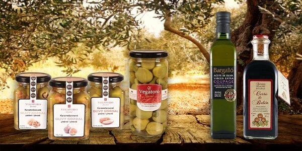 Luxusní olivy, balsamico a olivové oleje