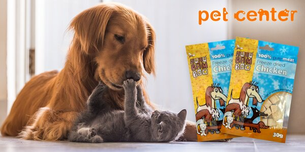 2x kuřecí pamlsky Huhubamboo pro psy i kočky