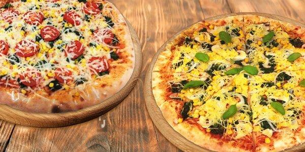 2 křupavé pizzy z ručně připravovaného těsta