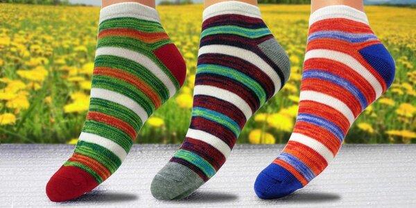 Dámské pruhované bavlněné ponožky