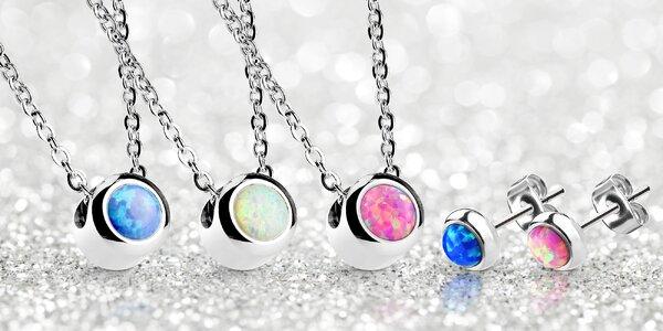Ocelové náušnice a náhrdelníky s opály