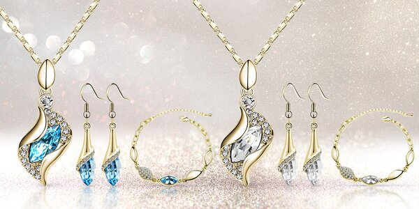 Pozlacená sada náhrdelníku, náramku a náušnic