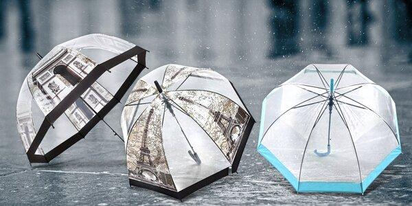 Velký transparentní vystřelovací deštník