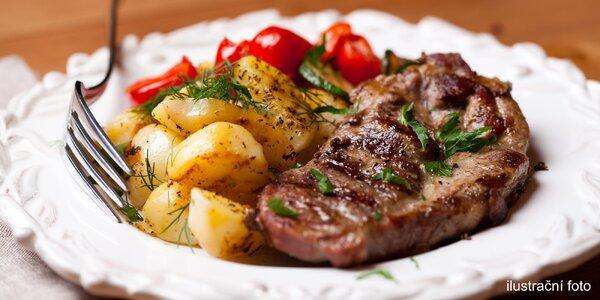 300gramové steaky dle výběru včetně přílohy