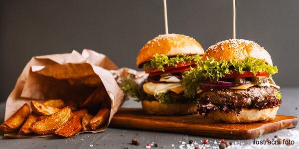 2 pořádně nabité hovězí burgery s hranolky