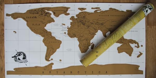 Mapa světa se stírací hliníkovou vrstvou