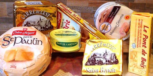 Francouzské sýry, paté, vína a další delikatesy