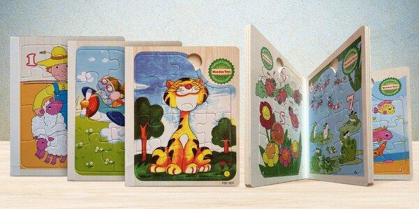 6 dětských puzzle skládanek ve dřevěném albu