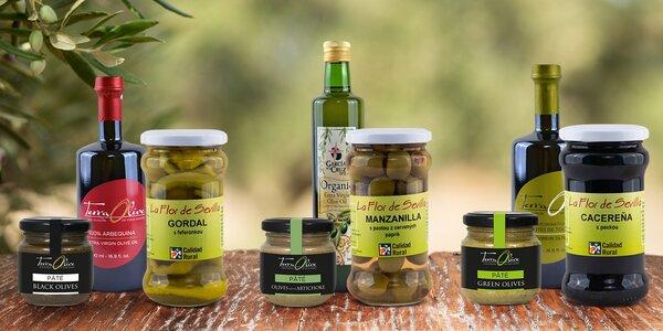 Španělské pochutiny: BIO olivový olej, mandle či tapenáda