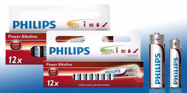 Velká sada 24 kusů AA nebo AAA baterií Philips