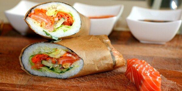 Sushi burrito s kuřecím, rybou nebo krevetami