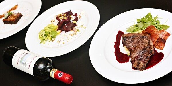 Elegantní 3chodové menu s rump steakem pro 2