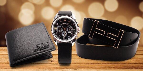 Dárkový set pro muže: hodinky, opasek, peněženka