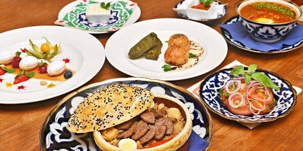 Uzbecké menu o čtyřech chodech pro 2 osoby