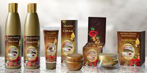 Kosmetické balíčky s arganovým a růžovým olejem