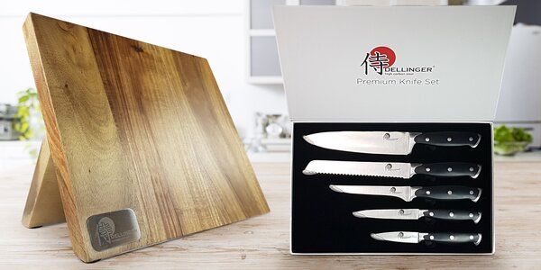Sada 5 nerezových nožů s magnetickým stojanem