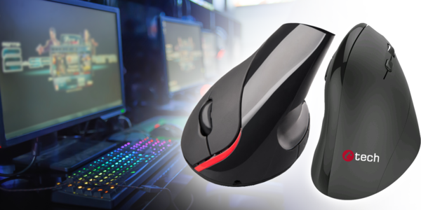 Vertikální myši C-TECH pro ergonomické držení
