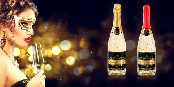 Šumivé víno Chardonnay s 23karátovým zlatem