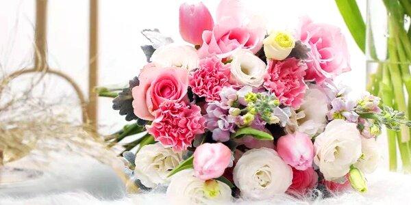 Čerstvá řezaná kytice nebo valentýnský pugét