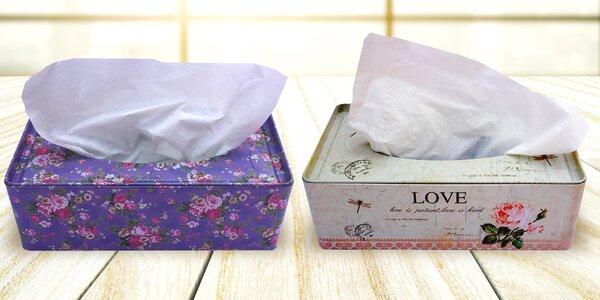 Designové plechové krabičky na tahací kapesníčky