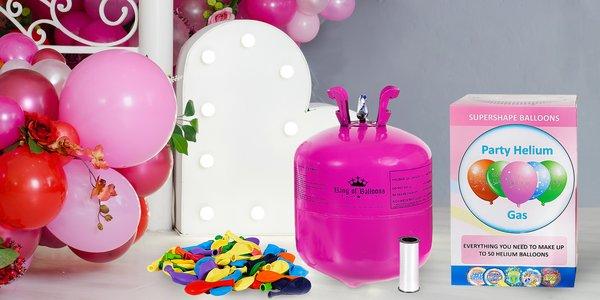 Láhev s heliem a balónky na pořádnou párty