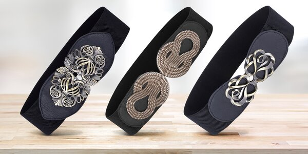 Dámské elastické opasky s kovovou sponou