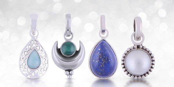 Stříbrné přívěsky s přírodními kameny