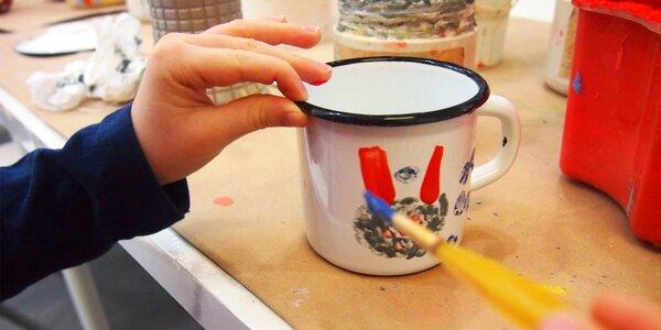Malování na barevný smaltovaný plecháček