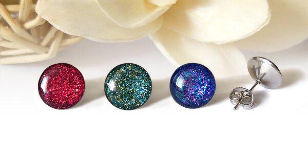 Třpytivé ocelové náušnice pro dámy Galactic Buttons