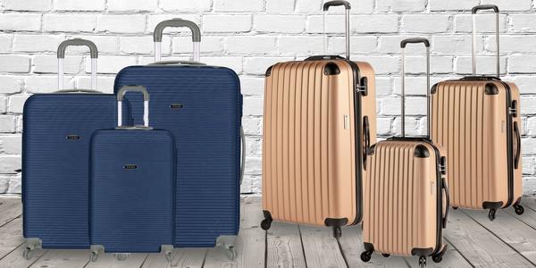 Sada tří skořepinových kufrů rozdílných velikostí