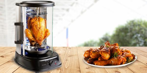 Vertikální gril pro kuřátko s křupavou kůrčičkou
