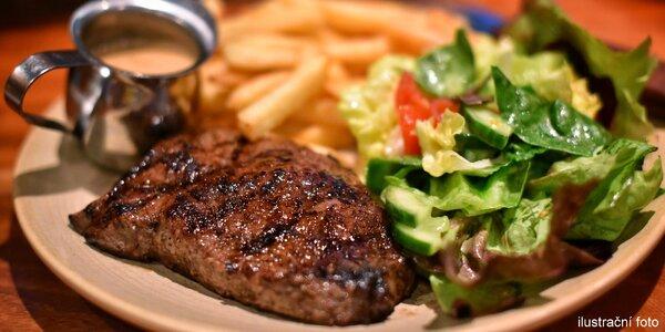 Steak z krkovice či kuřecího + pivo nebo nealko