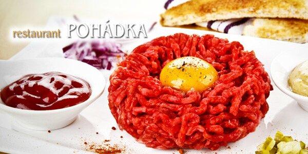 Hovězí tataráček (450 g) + 18 topinek v Pohádce