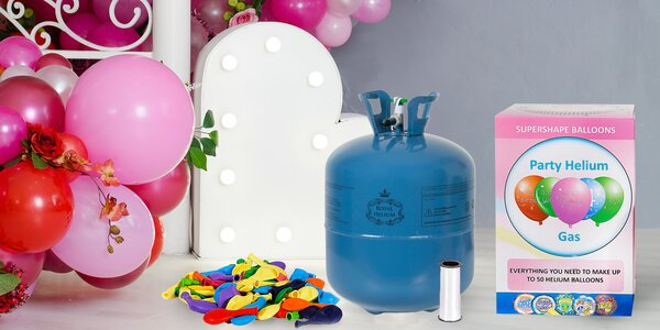 Láhev helia s 30 nebo 50 balónky k nafouknutí