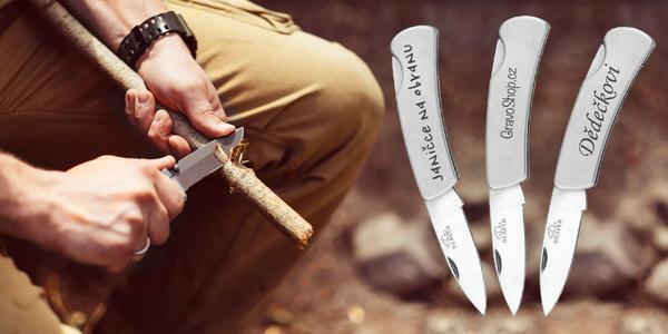 Gravírovaný otevírací nerez nůž s vaším textem