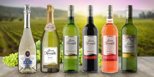 Balíček 6 nealkoholických vín: Merlot i Muscat