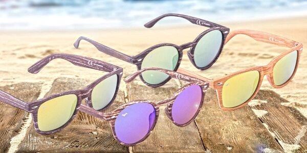 Originální sluneční brýle s imitací dřeva