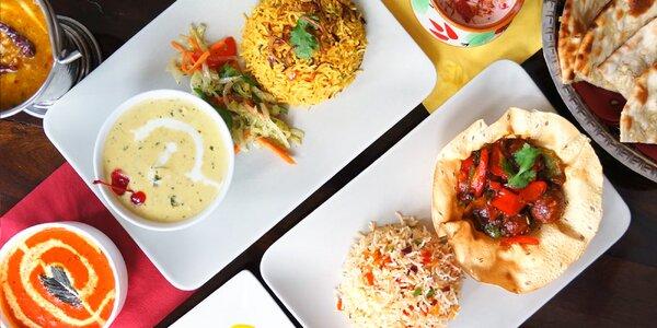 Tříchodové indické menu pro dvě osoby