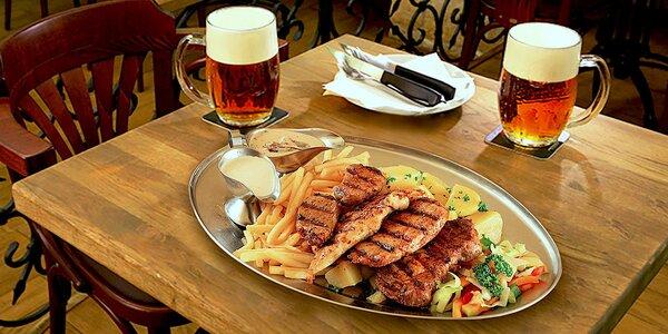 Steakový mixgrill pro dva vč. příloh a omáček