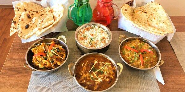Vegetariánské nebo kuřecí indické menu