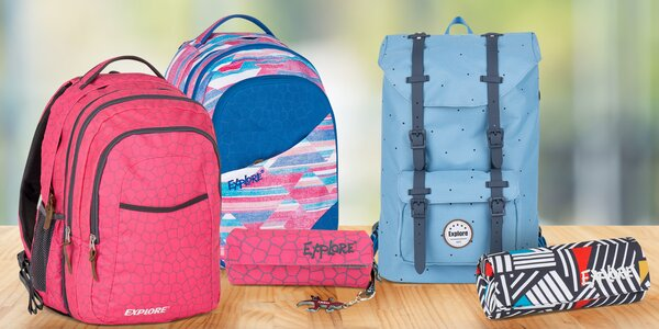 Penály a studentské batohy Explore: různé barvy