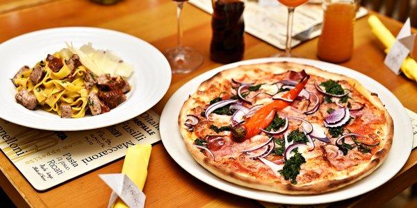 Pizza nebo těstoviny a nápoj na Staromáku
