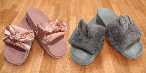 Dámské pantofle s mašlí nebo chlupaté s ušima i bez