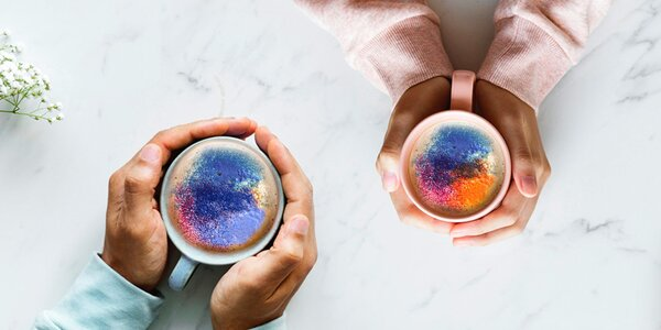 Cappuccino s posypem ze superpotravin pro 2 os.