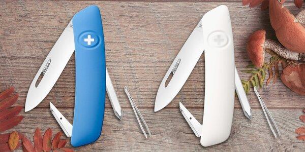Švýcarský kapesní nůž s 6 funkcemi: bílý i modrý