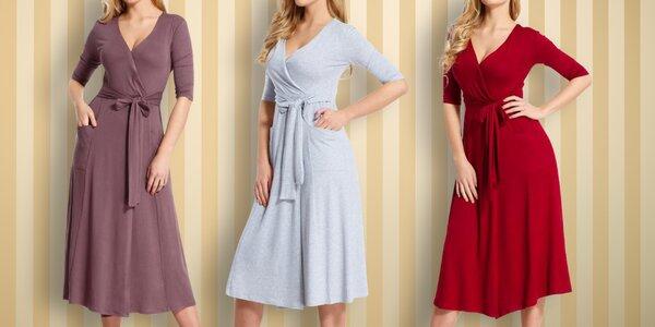 Šaty s dlouhým rukávem ve čtyřech barvách