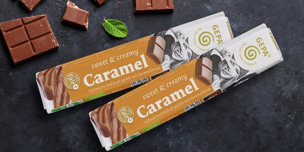 Fair trade čokoládové tyčinky s karamelem
