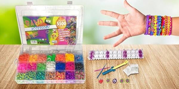 Gumičky na pletení náramků: různé barevné druhy