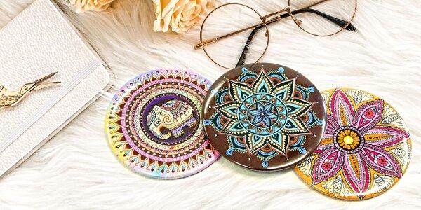 Ručně vyráběná kapesní zrcátka s motivem mandal