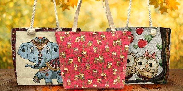 Prostorné látkové tašky se sovičkami nebo slony